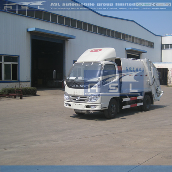 China FOTON 5CBM Compressed Garbage Trucks waxed before delivery